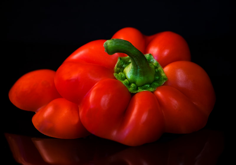 Photograph of Cut pieces of a red pepper