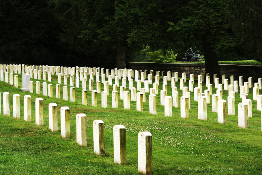 Rows of grave markers serve as a reminder of all who died serving their country.