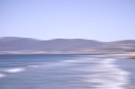 Abstract photographic vision of the Pacific Ocean and the Santa Monica mountains